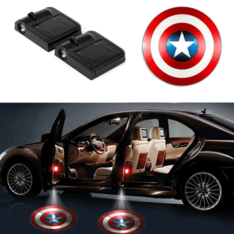 2 CAPTAIN AMERICA WIRELESS LED CAR DOOR PROJECTORS