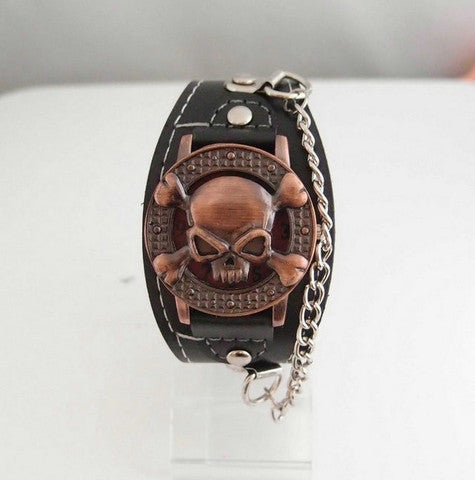 Cool Copper Skull Leather Watch