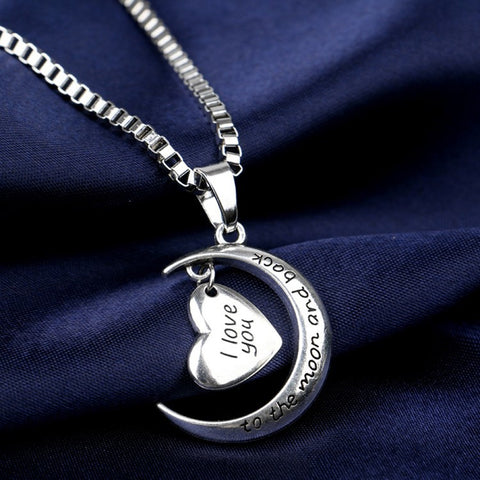 I Love You To The Moon And Back Moon Heart Necklace