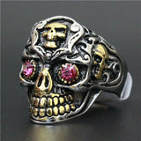 Golden Skull With Ruby Red Eyes Ring