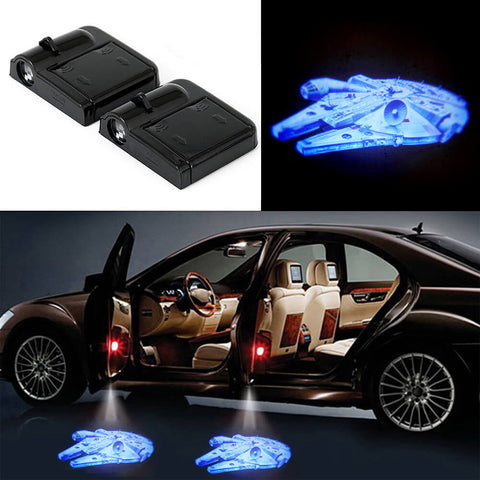 2 STAR WARS MILLENNIUM FALCON WIRELESS LED CAR DOOR PROJECTORS