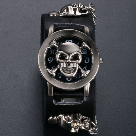 Black Leather Skull Wrist Watch