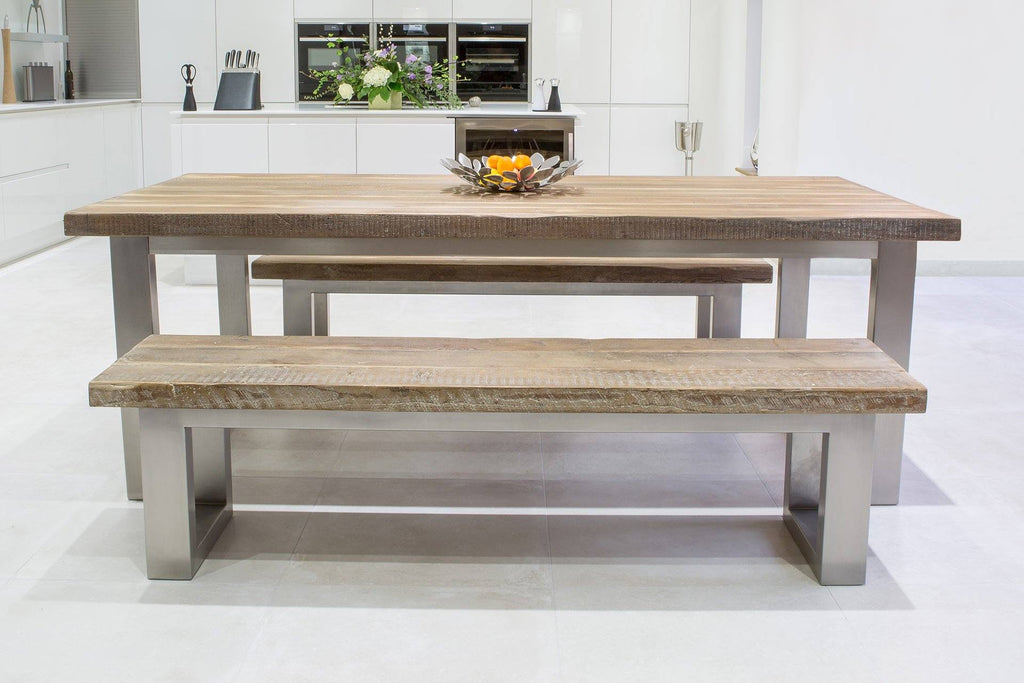 Natural 223cm Short Overhang Table with 178cm Side Benches