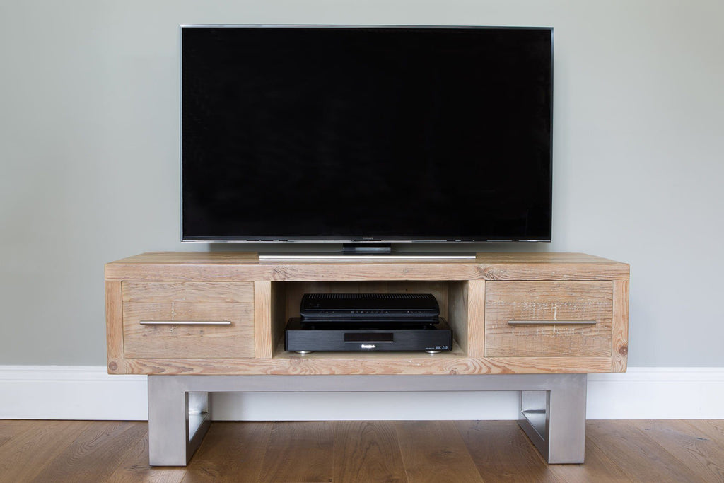 wooden double tv stand rustic reclaimed wood and metal eat sleep live. Black Bedroom Furniture Sets. Home Design Ideas