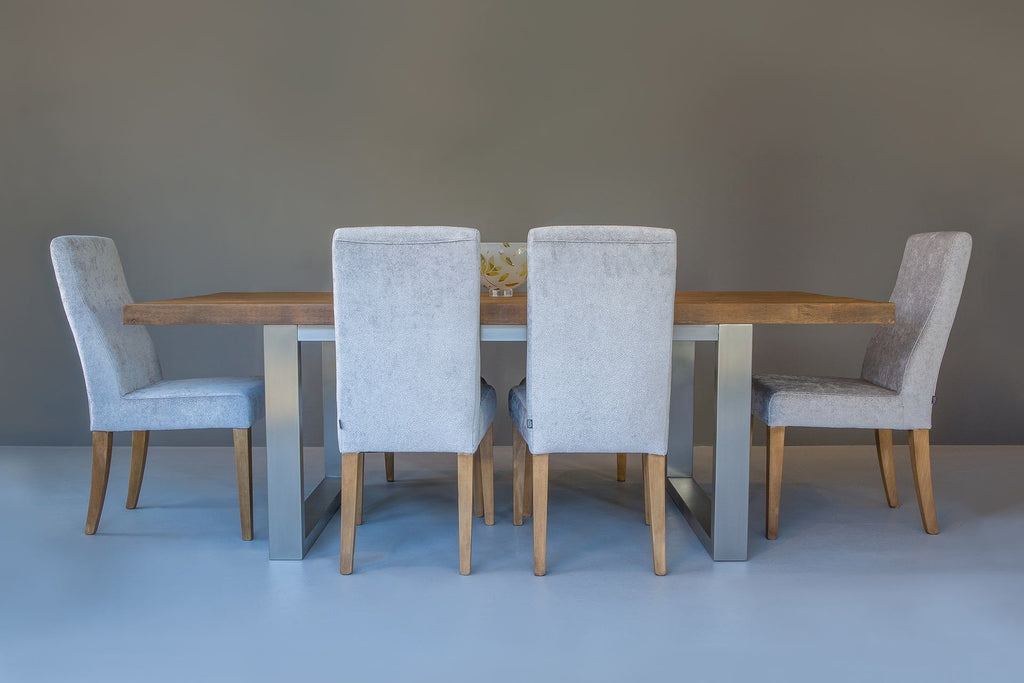 Warm 223cm Long Overhang Table with Annabel Chairs