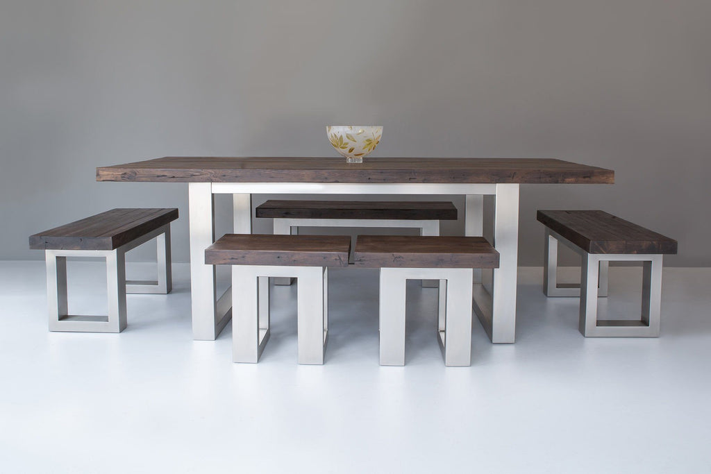 Classic 223cm Long Overhang Table With Benches & Stools