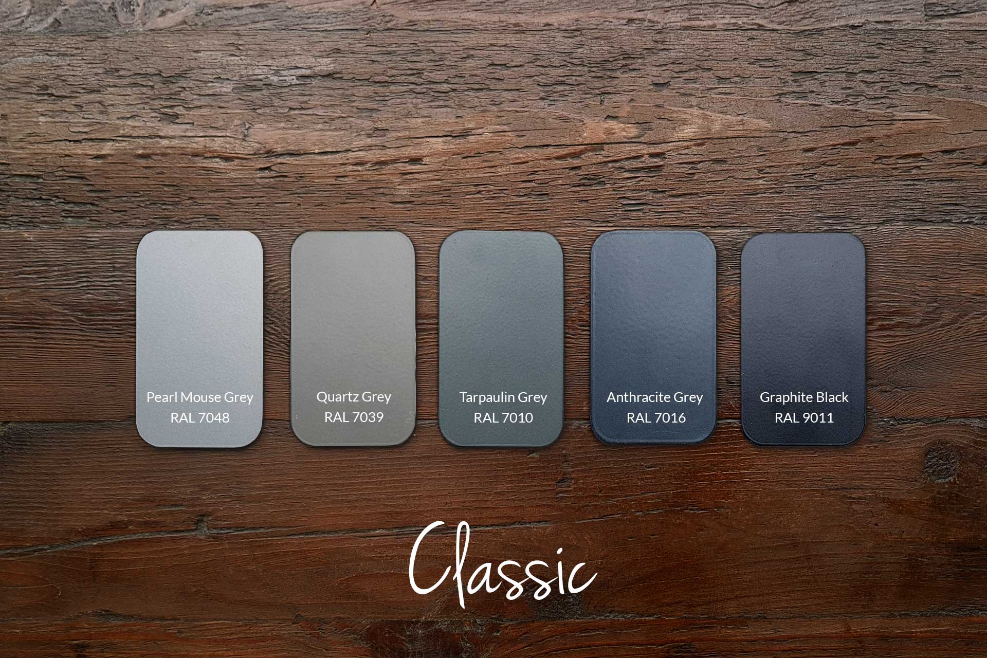 Examples of Matt Frame Colours with Our Classic Wood (samples & other colours available)