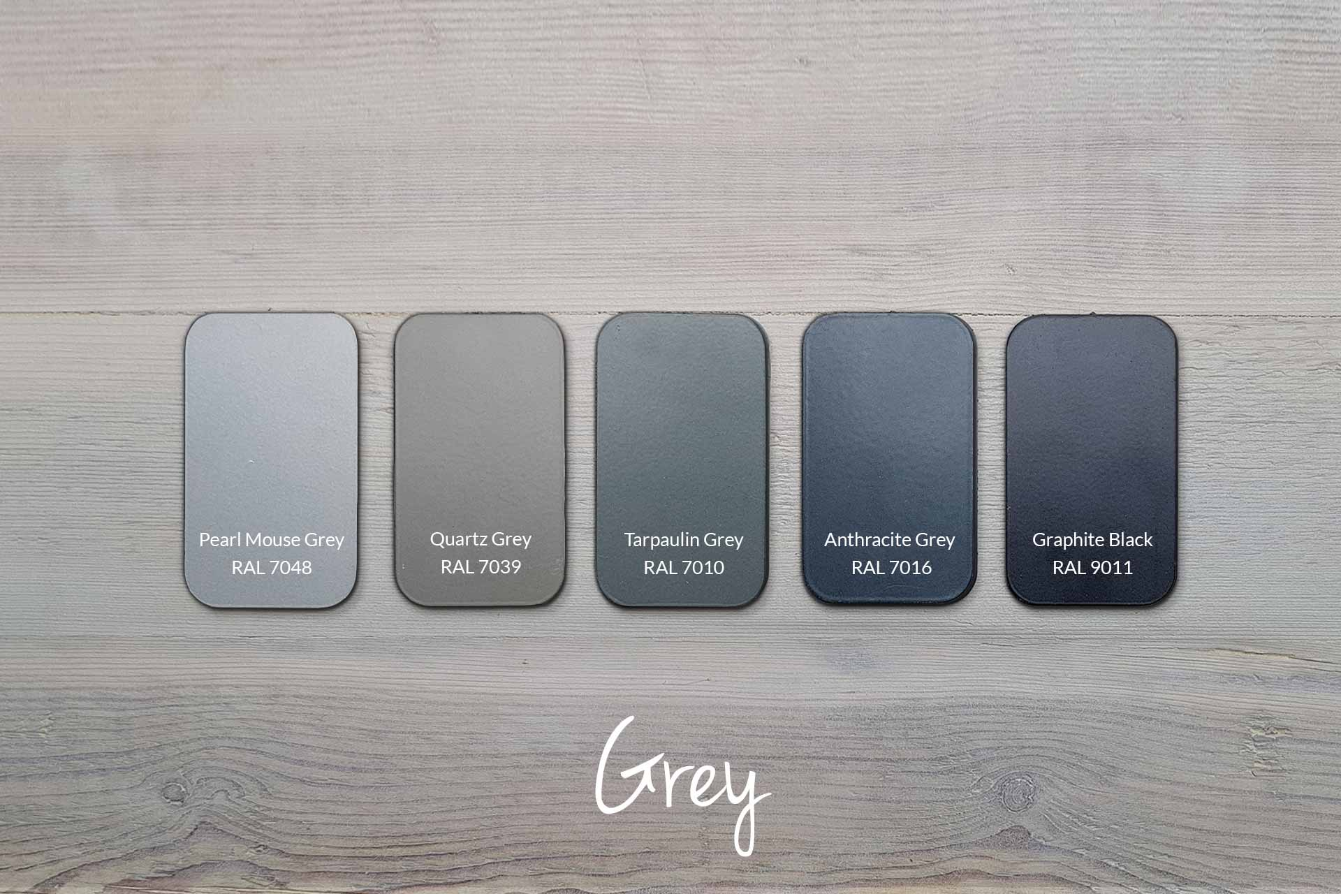 Examples of Metal Frame Colours with Our Grey Wood (samples & other colours available)