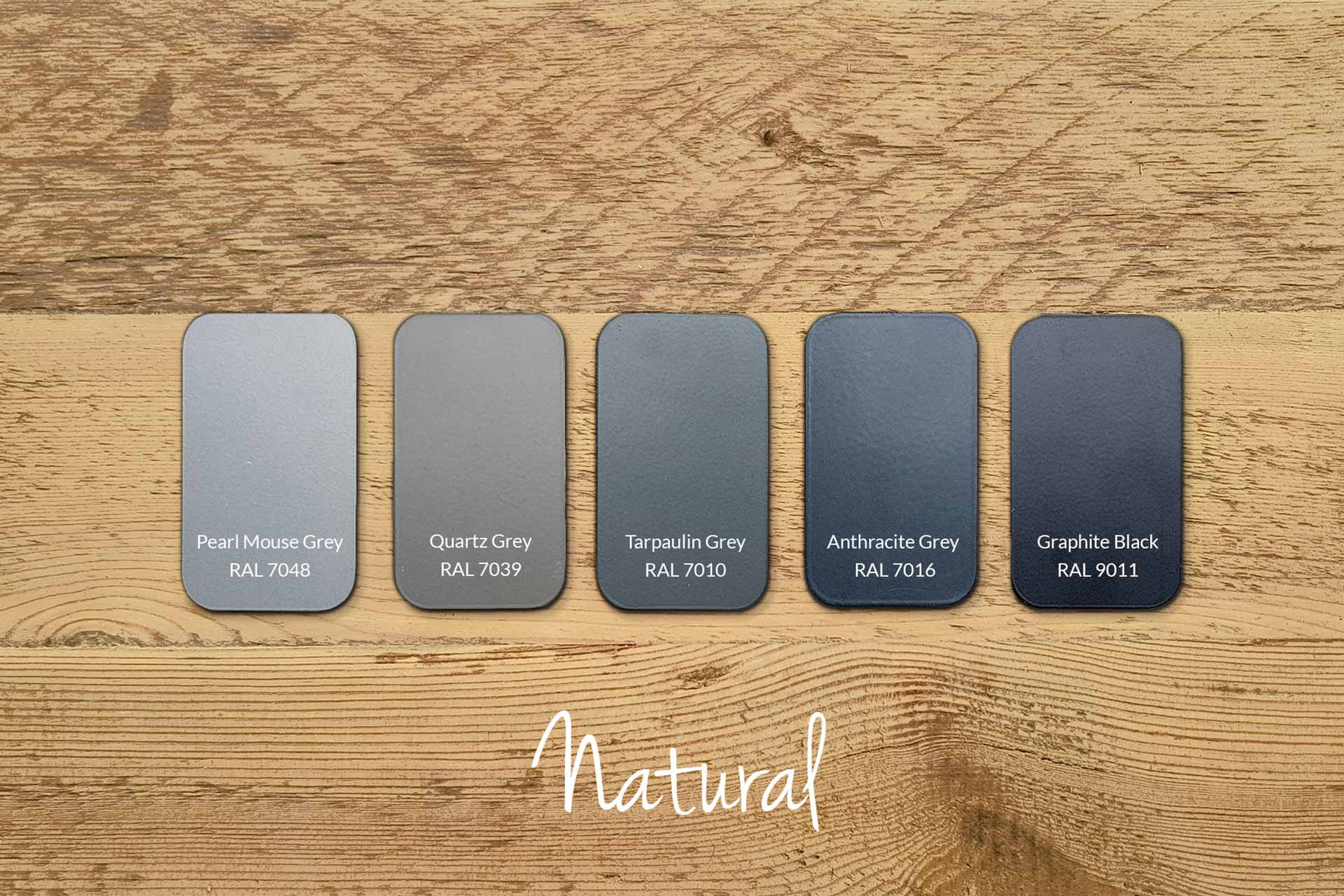 Examples of Metal Frame Colours with Our Natural Wood (samples & other colours available)
