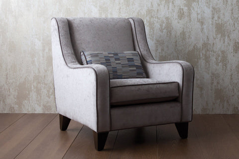 Heath Fabric In Silver Colour With Piping In Ritzy Velevet Saphire & Cushion Linear Saphire