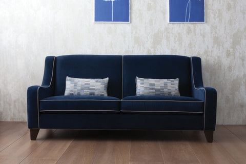 199cm Sofa With Ritzy Velvet Fabric In Sapphire Colour With Ritzy Velvet Slate Piping & Linear Sapphire Cushions