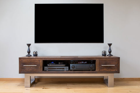 "Classic 180.5cm Double TV Stand With Bar Handles (Displayed With 65"" TV)"