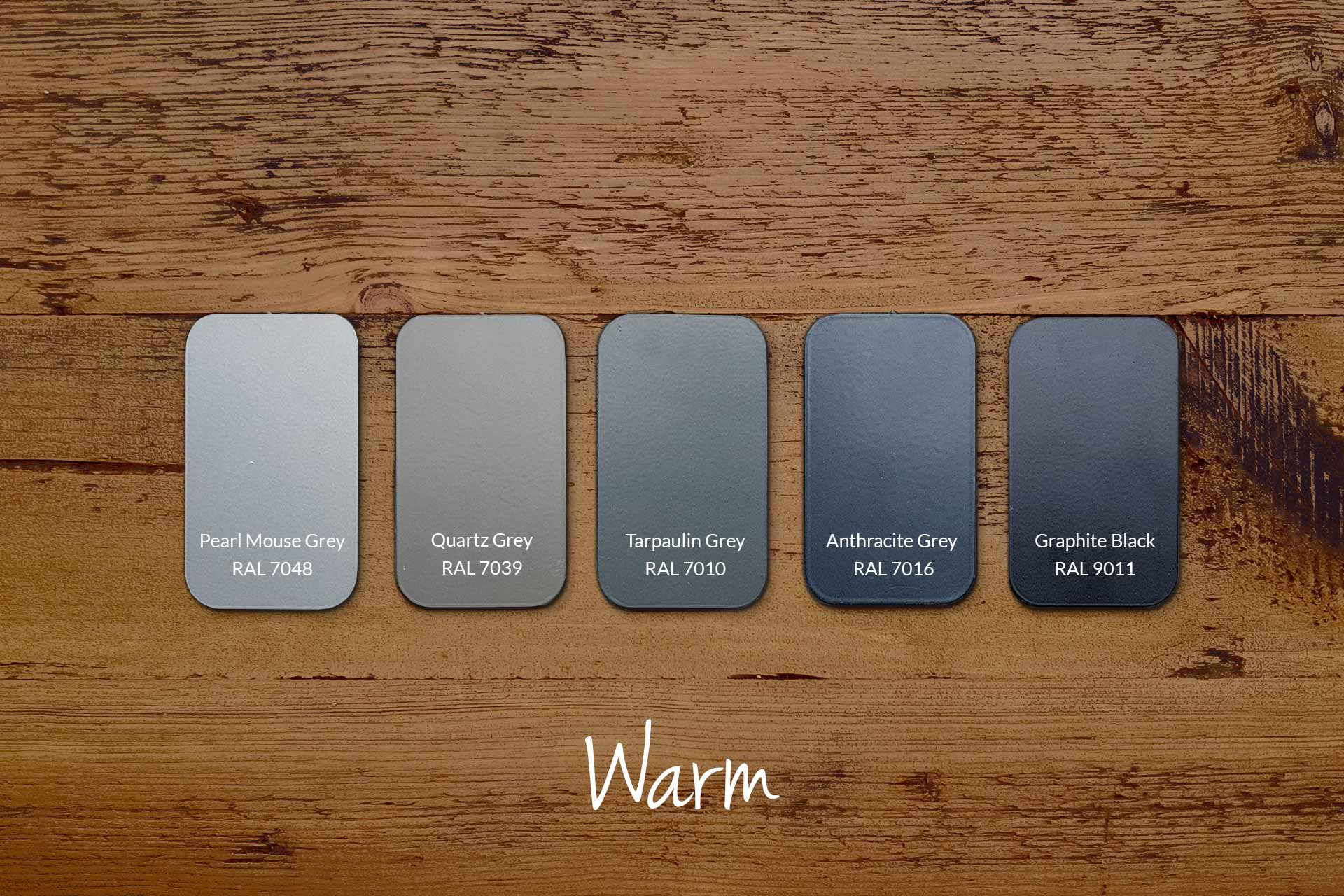 Examples of Metal Frame Colours with Our Warm Wood (samples & other colours available)