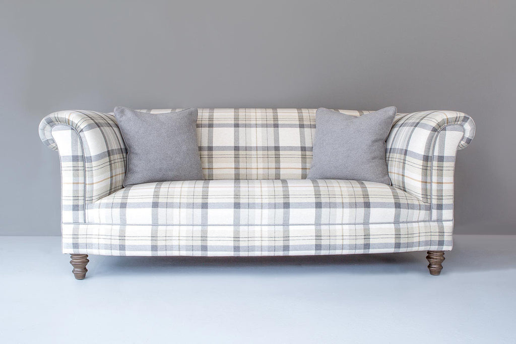 196cm Standard Back Sofa With Balmoral Check Fabric In Pumice Colour & Balmoral Plain Silver Cushions and Piping