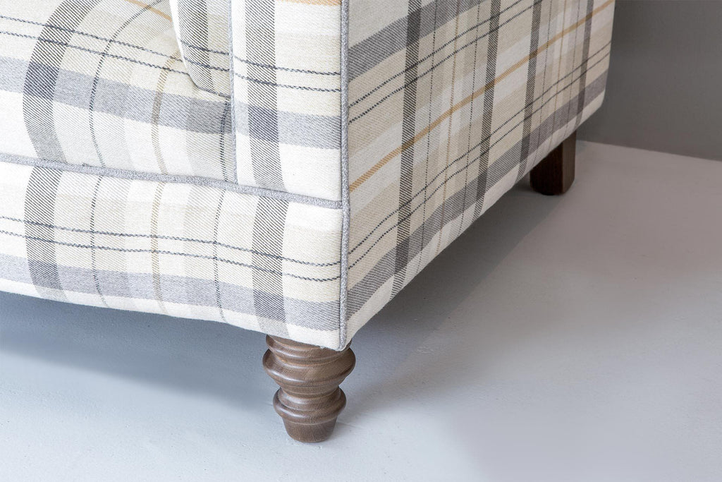 Balmoral Check Fabric In Pumice Colour & Balmoral Plain Silver Piping
