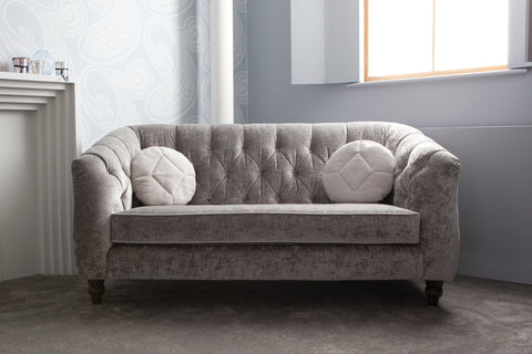 211cm Sofa With Lorenzo Velvet Fabric In Platinum Colour With Luxury Velvet Ivory Cushions