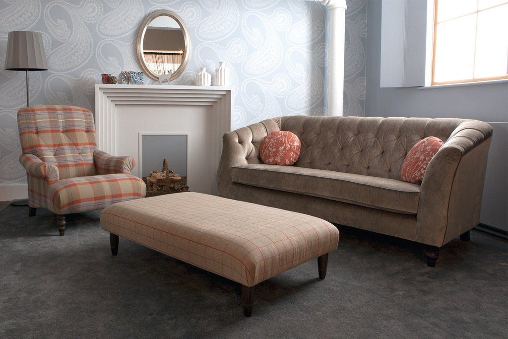 229cm Sofa With Teddy Fabric In Stone Colour With Piping In Ritzy Velvet Slate & Cushions In Blossom Copper