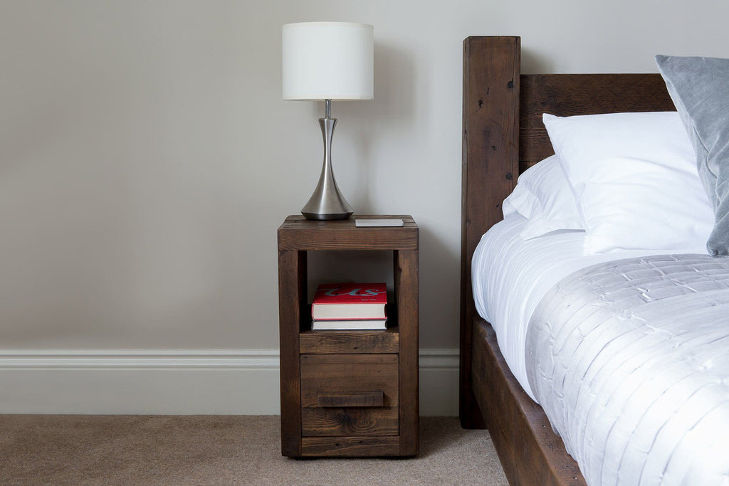 Classic Slim Bedside Table With Long Wooden Handle