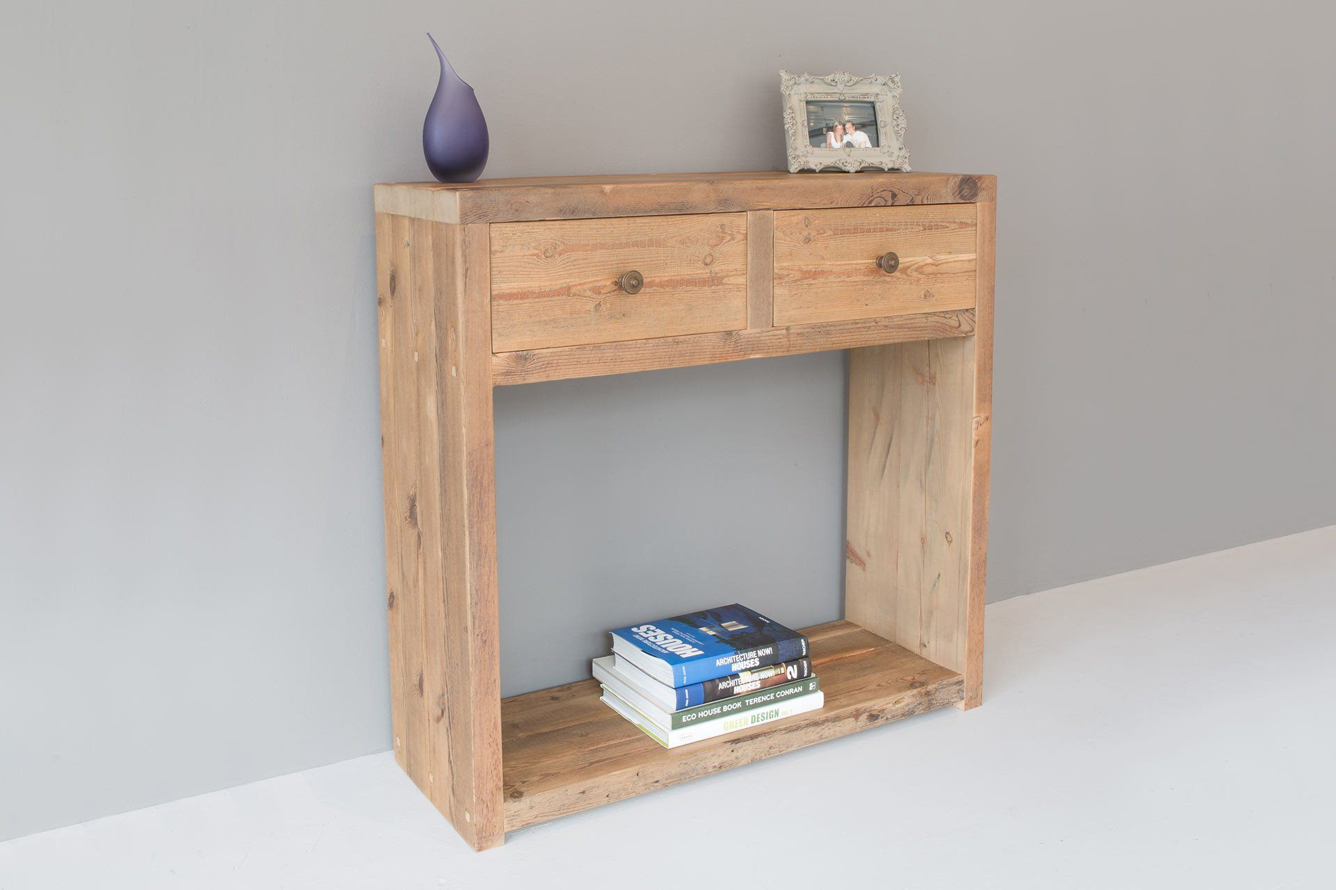 Natural 95.5cm Console Table With Antique Knobs