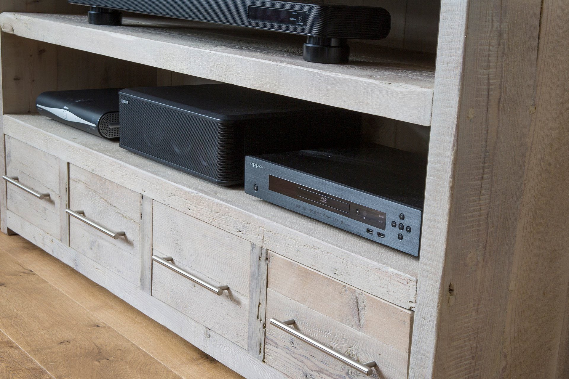 Grey 158.5cm Triple TV Stand With Bar Handles