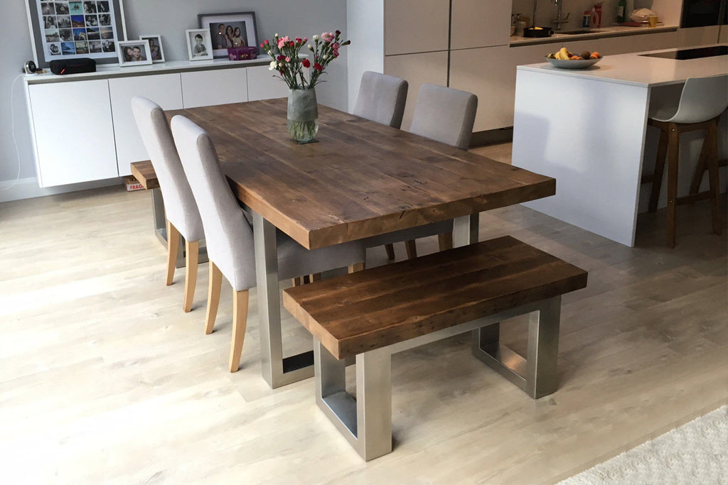 Classic 223cm Long Overhang Table With End Benches & Annabel Chairs