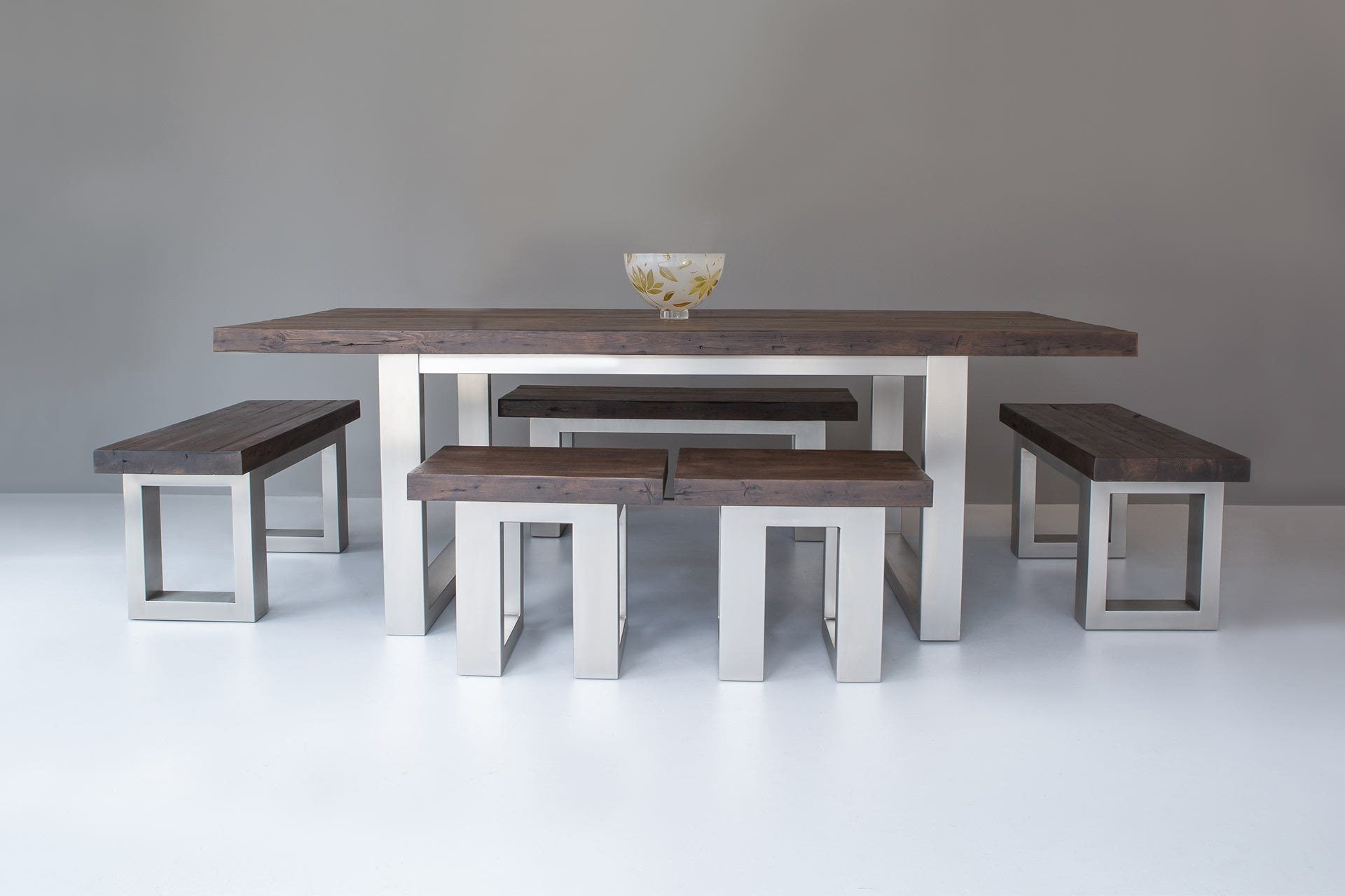 Classic Stools With 223cm Long Overhang Table & End Benches