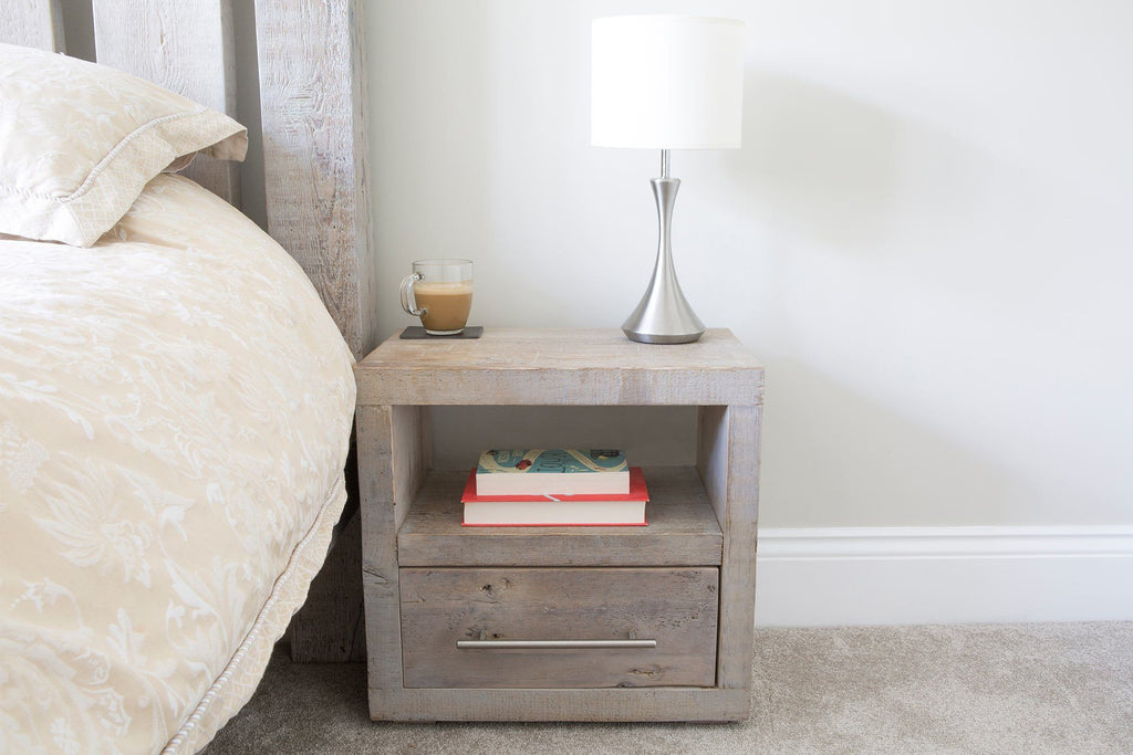 Grey 1 Drawer Bedside Table With Bar Handle