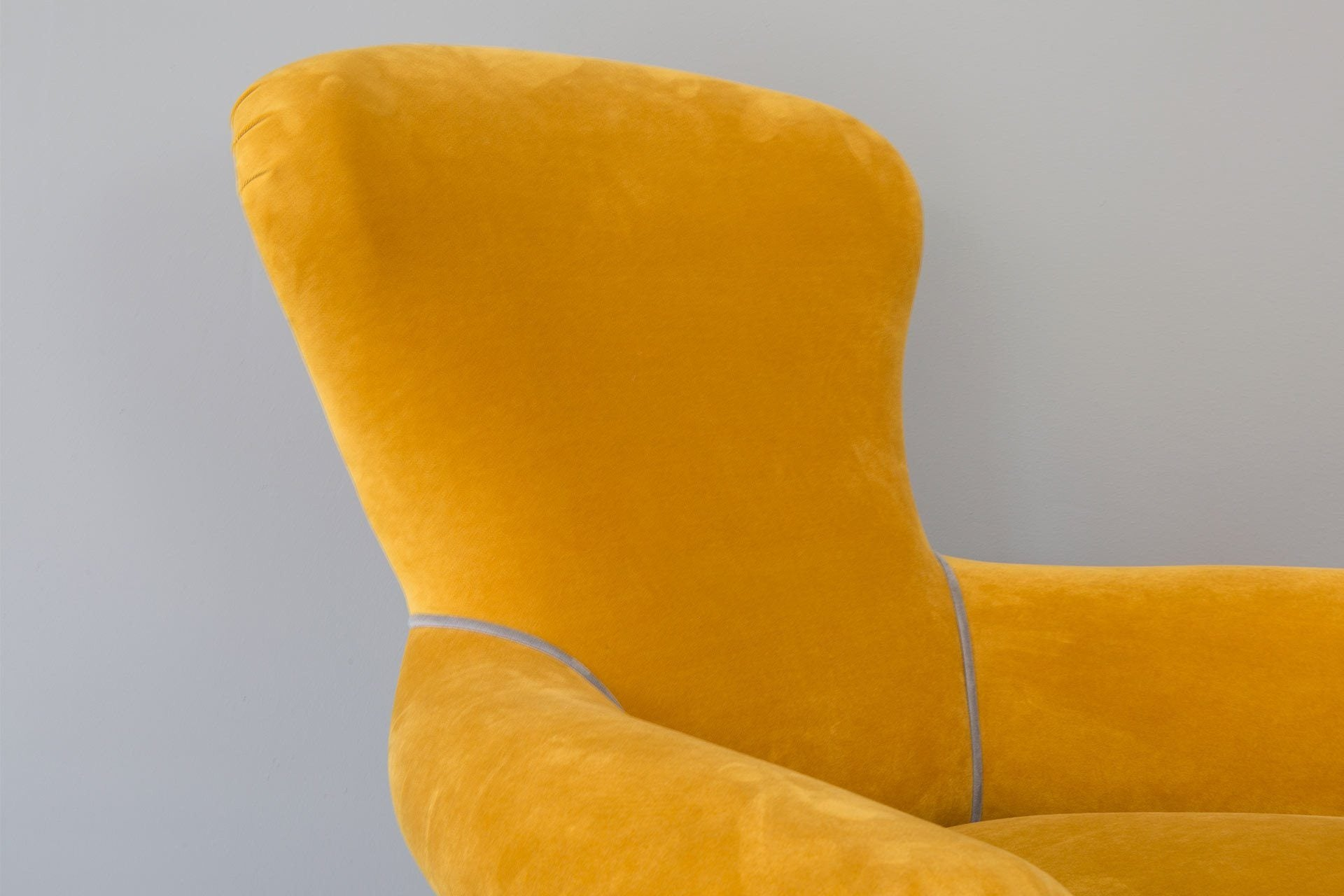 Ritzy Velvet Fabric In Saffron Colour With Slate Piping