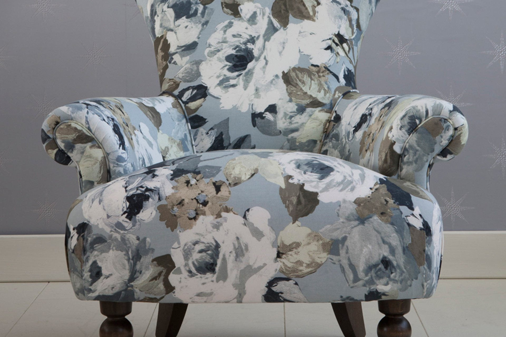 Flora Fabric In Silver Colour