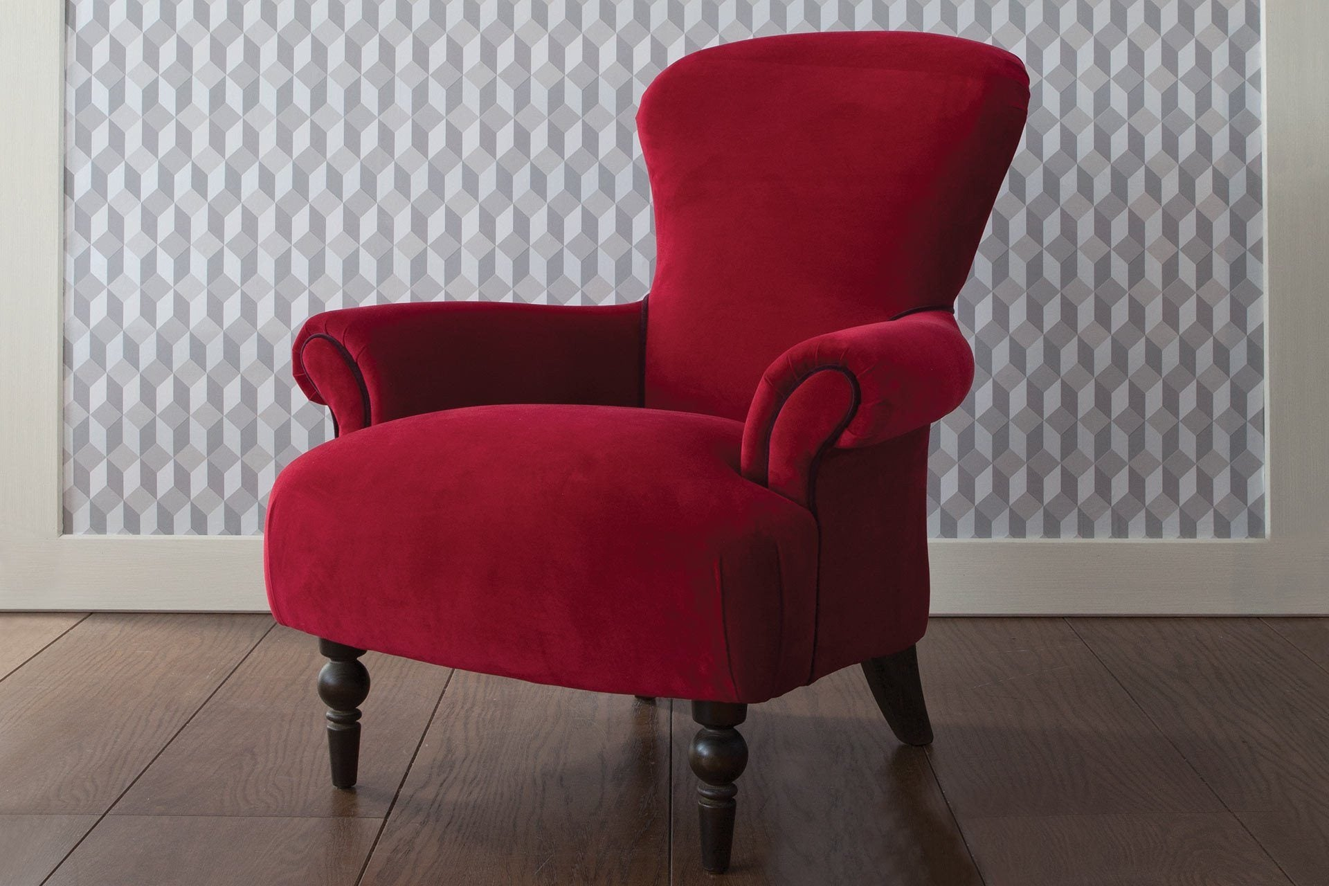 Ritzy Velvet Fabric In Scarlet Colour With Cassis Piping