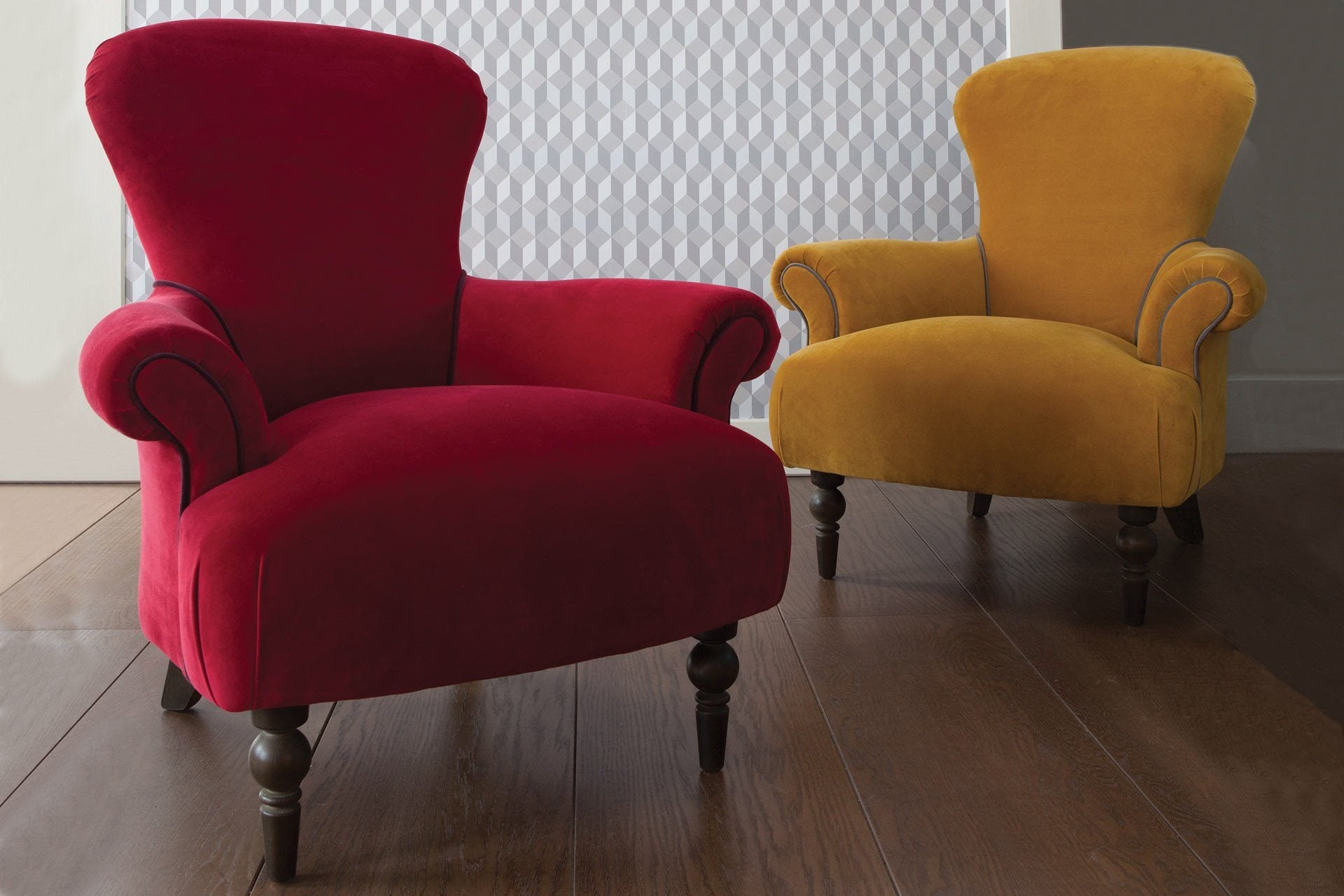Ritzy Velvet Fabric In Scarlet And Saffron Colours
