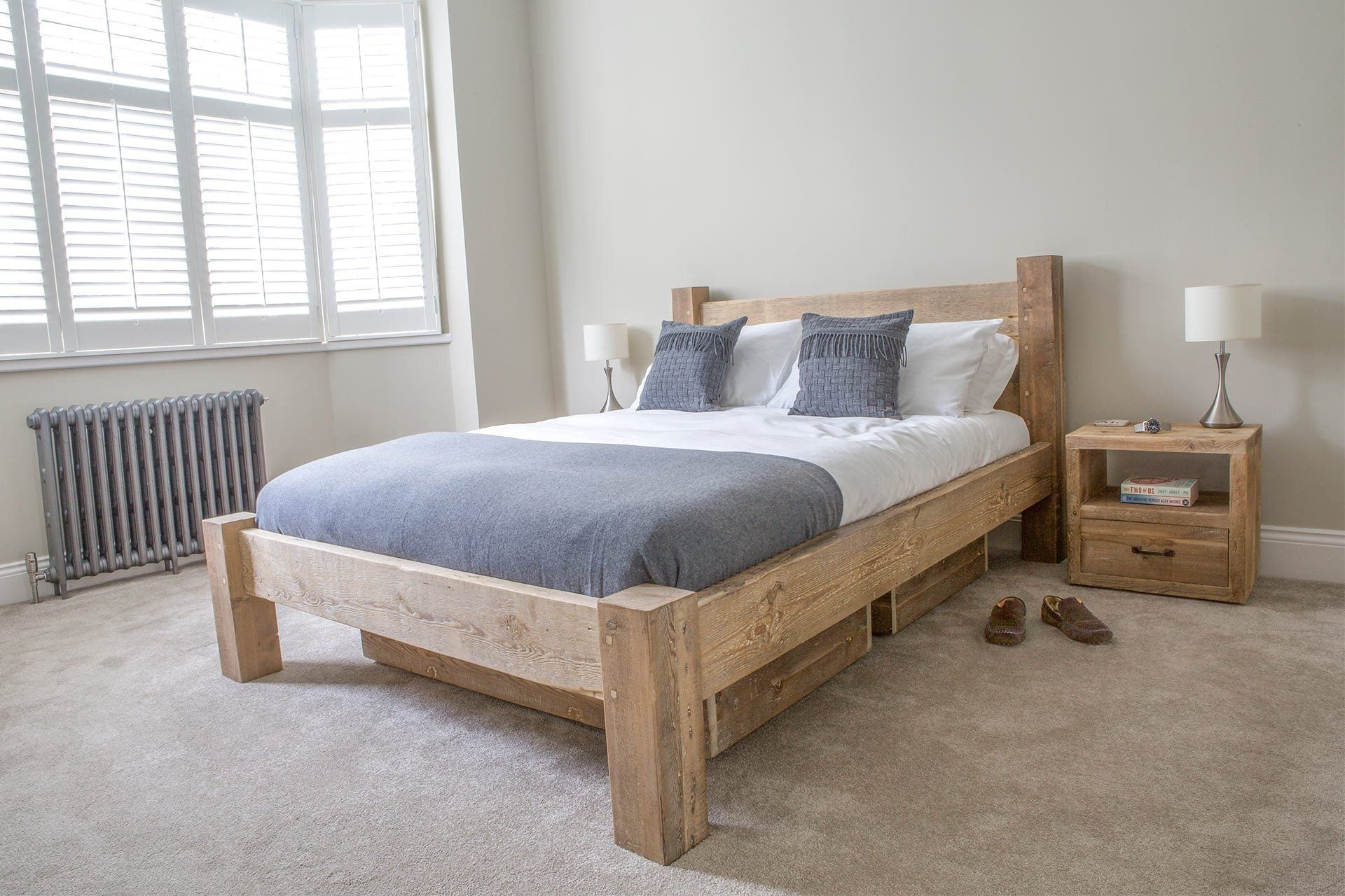 Natural Kingsize Bed With Branson 1 Drawer Bedsides & Underbed Storage (Sold Separately)