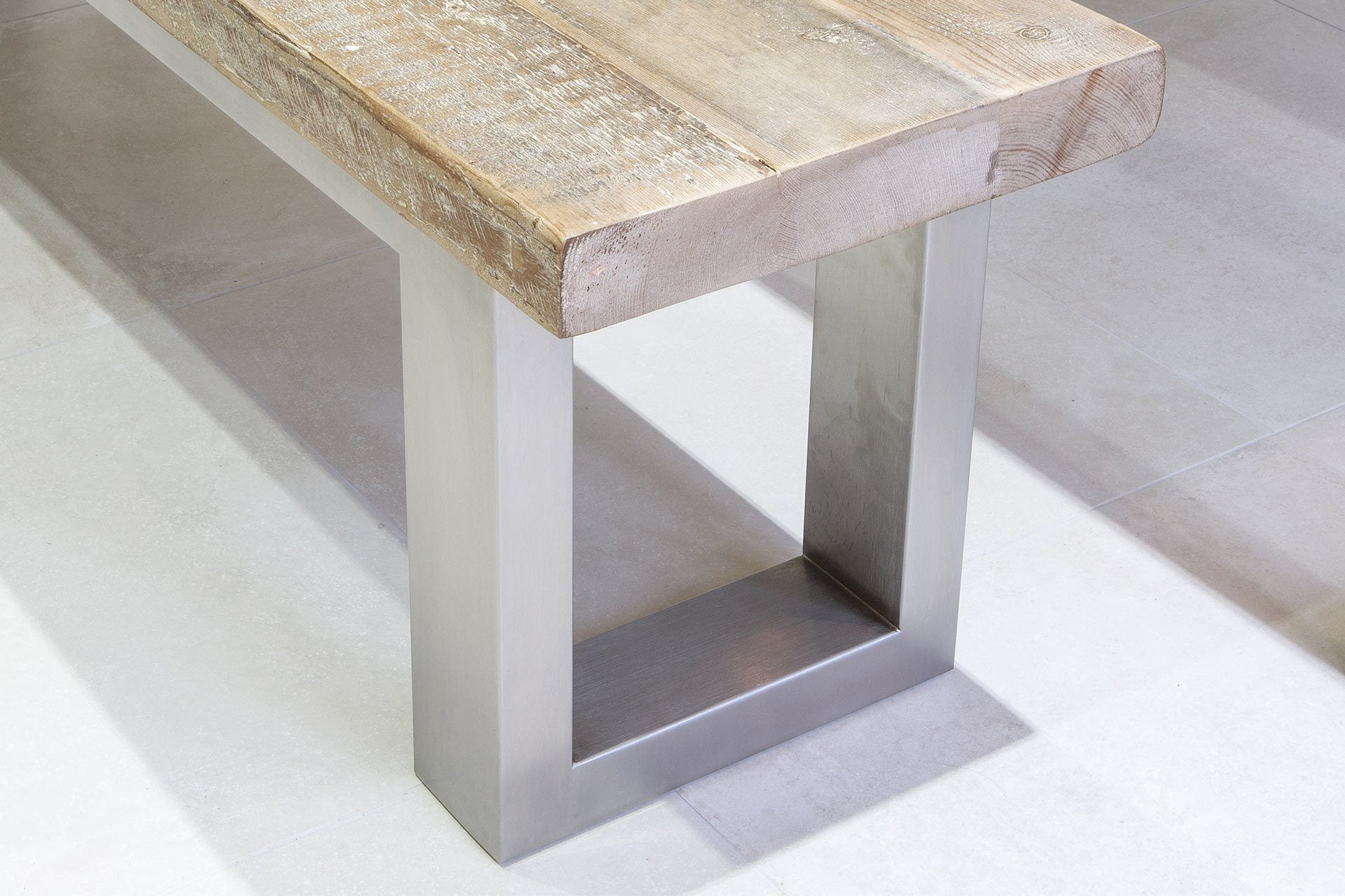 Natural Bench & Brushed Stainless Steel Close Up