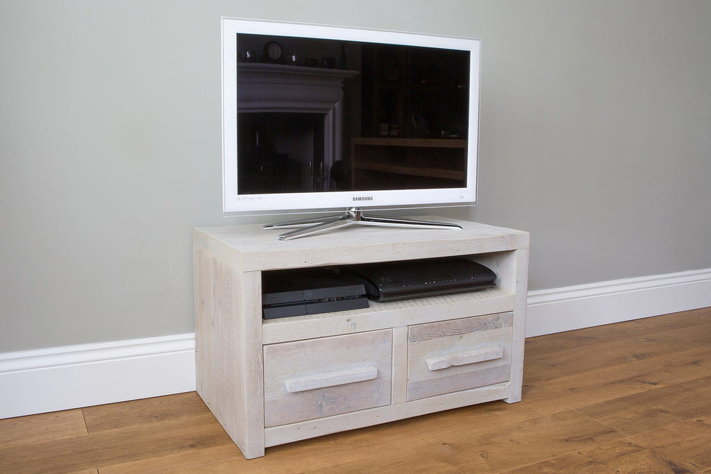 "Grey 81.5cm Double TV Stand With Long Wooden Handles (Displayed With 32"" TV)"