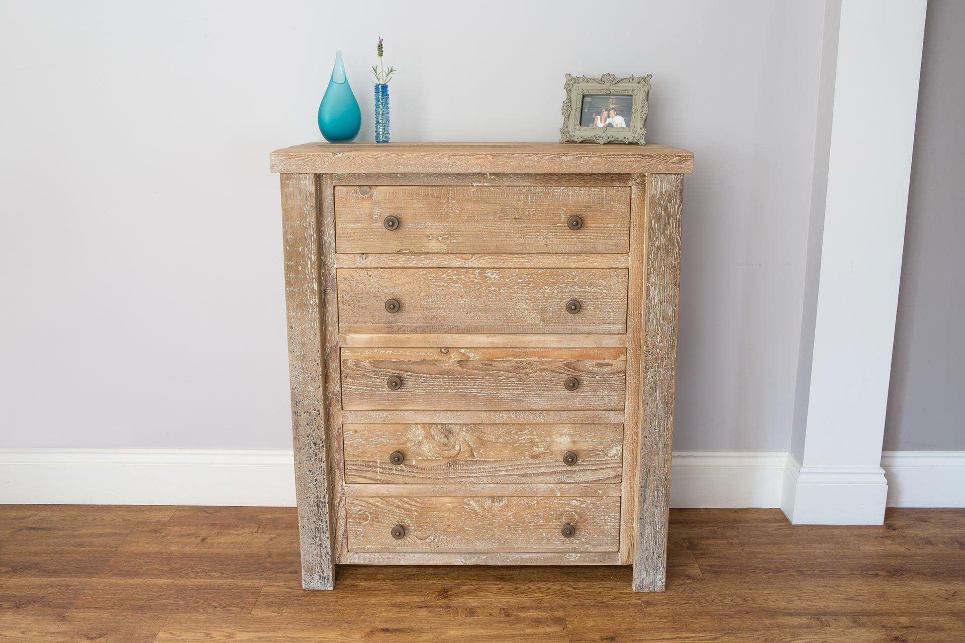 Natural 91.5cm Chest With 6 Drawers & Antique Knobs
