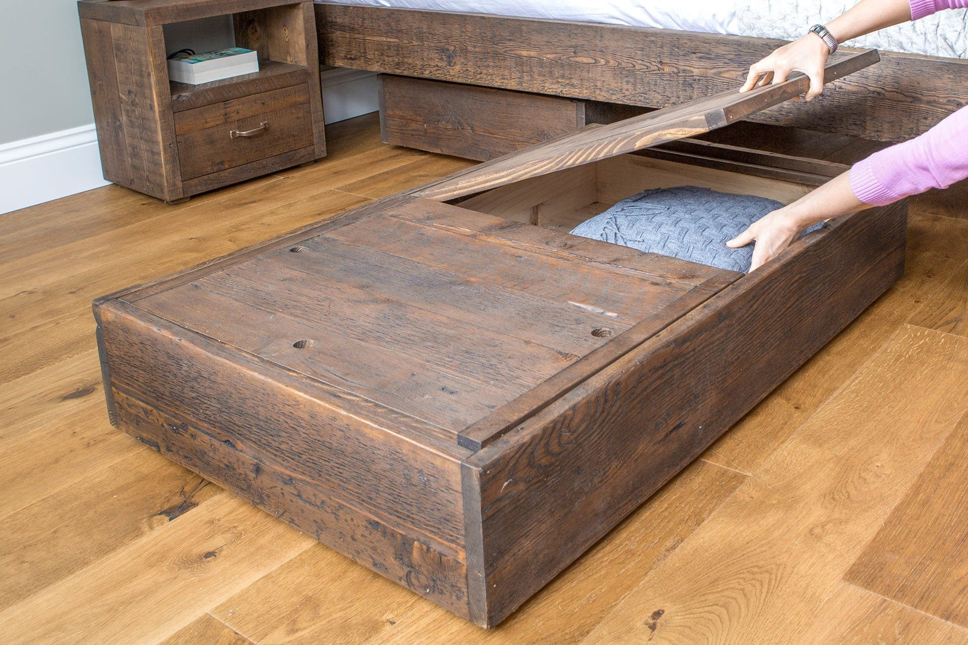 Chunky Wooden Double Bed and Underbed Storage Units ...