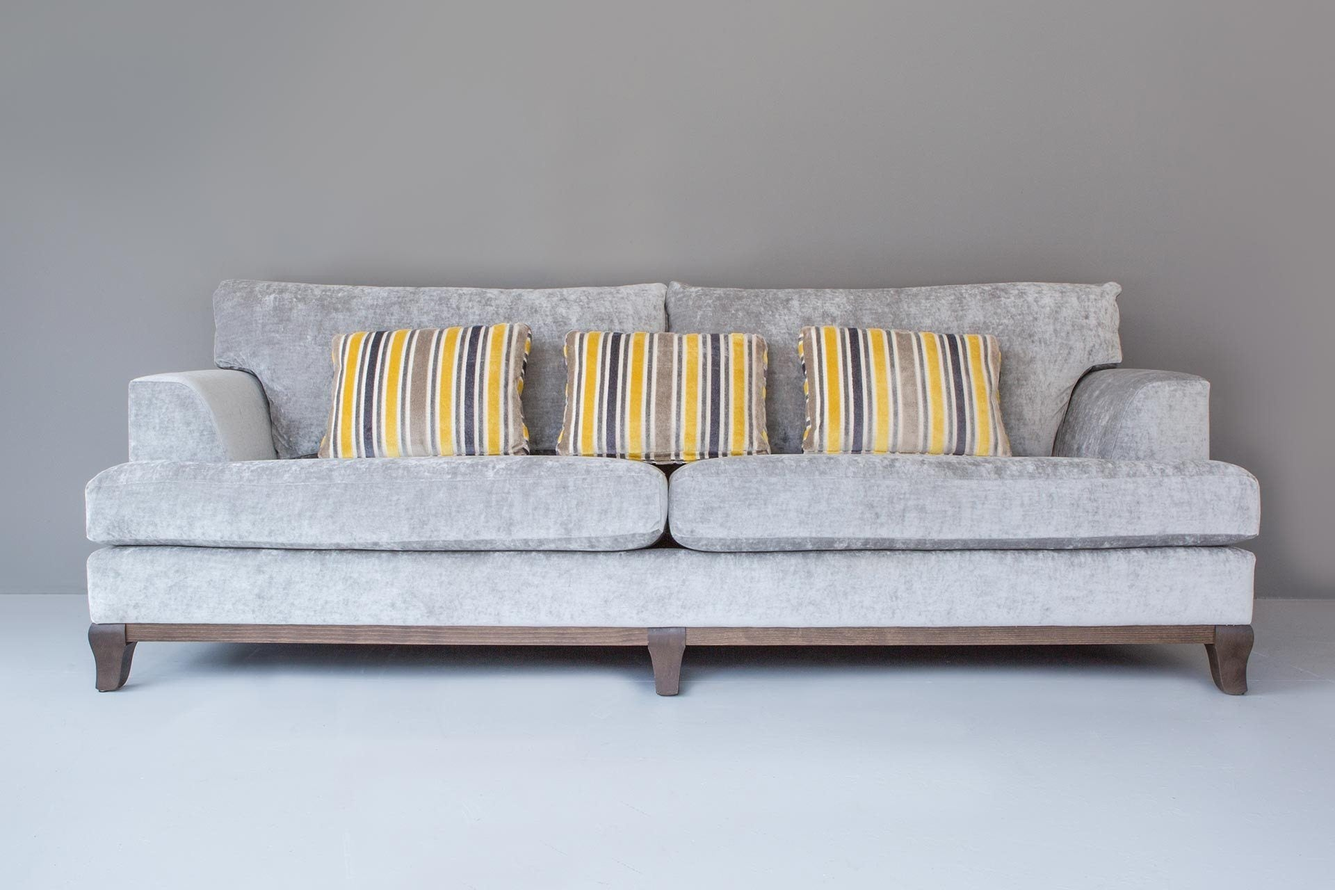 239cm Classic Back Sofa With Lorenzo Velvet Fabric In Platinum Colour With Darcy Stripe Graphite Cushions