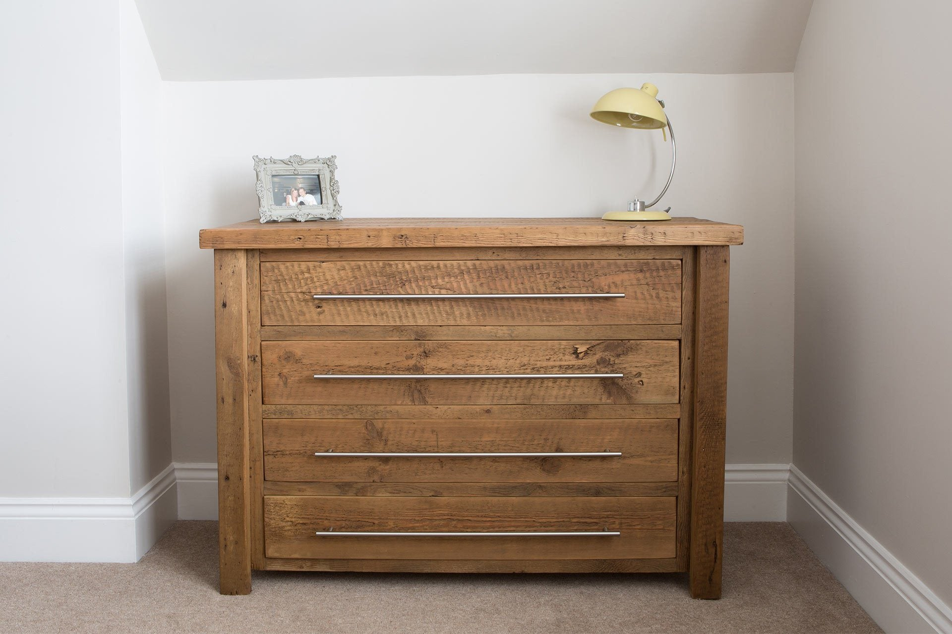 Warm 122cm Chest With 4 Drawers & Bar Handles