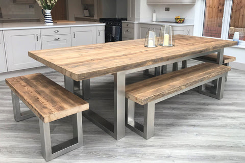 Natural 284cm x 117cm table with end & side benches