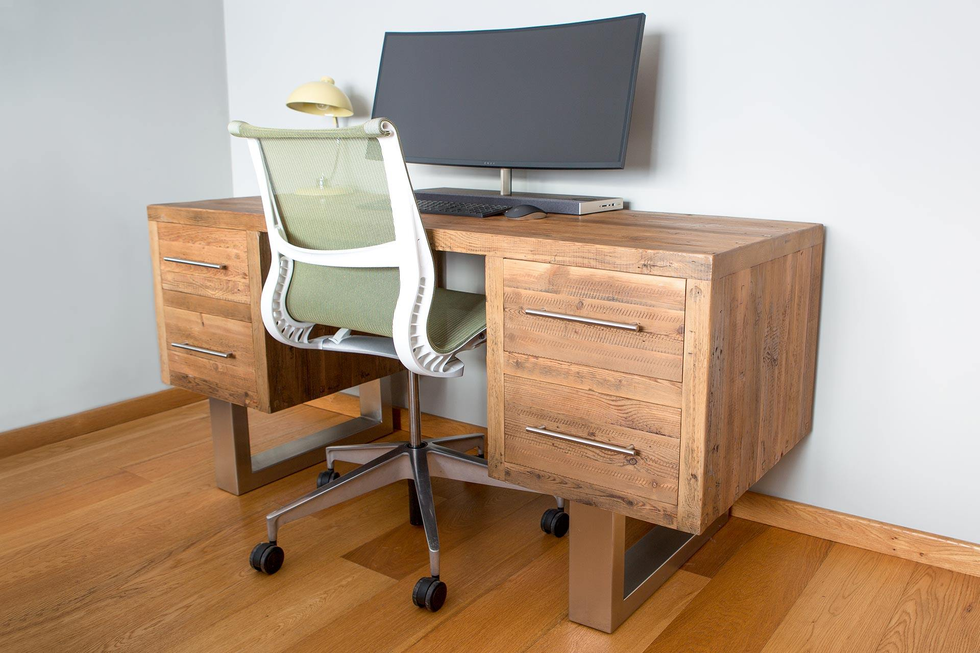 Natural 165cm Desk With Bar Handles