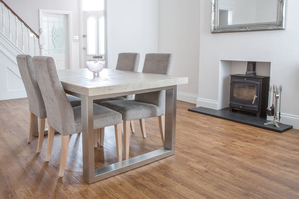 Grey 162cm Short Overhang Table With Annabel Chairs