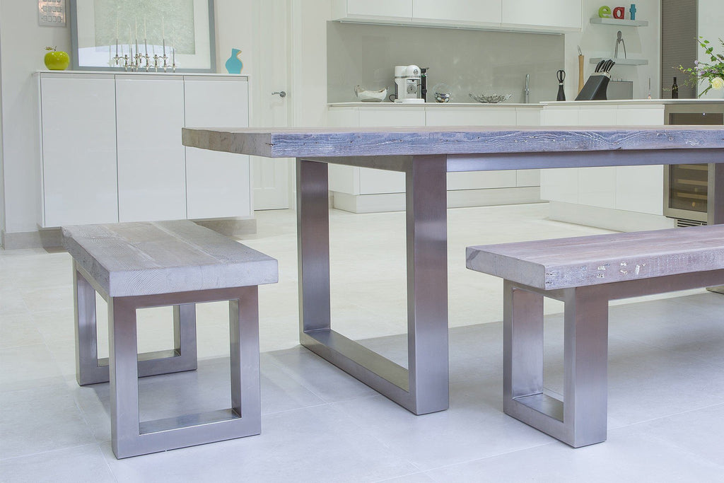 Grey 100cm End Bench & 178cm Bench With 284cm Long Overhang Table