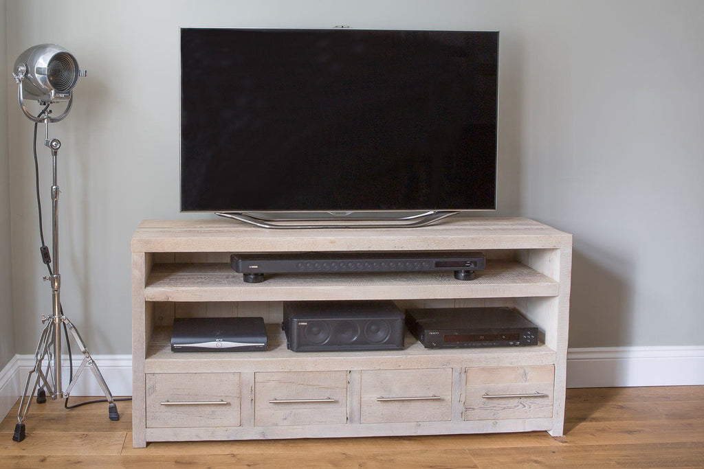 "Grey 158.5cm Triple TV Stand With Bar Handles (Displayed With 55"" TV)"