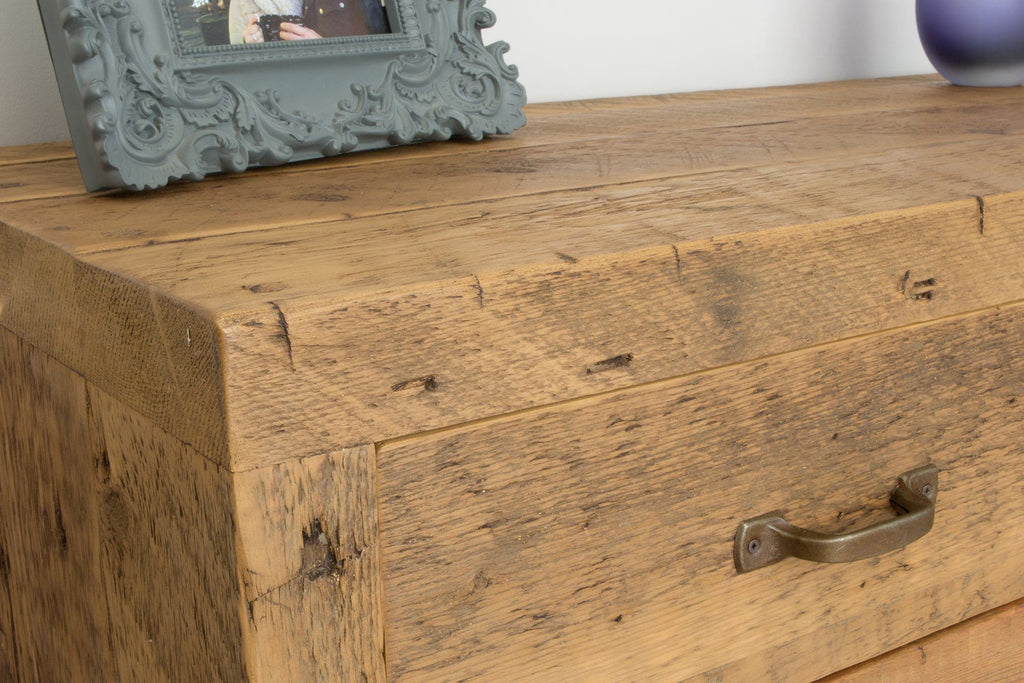 Warm Sideboard Detail With Antique Handle