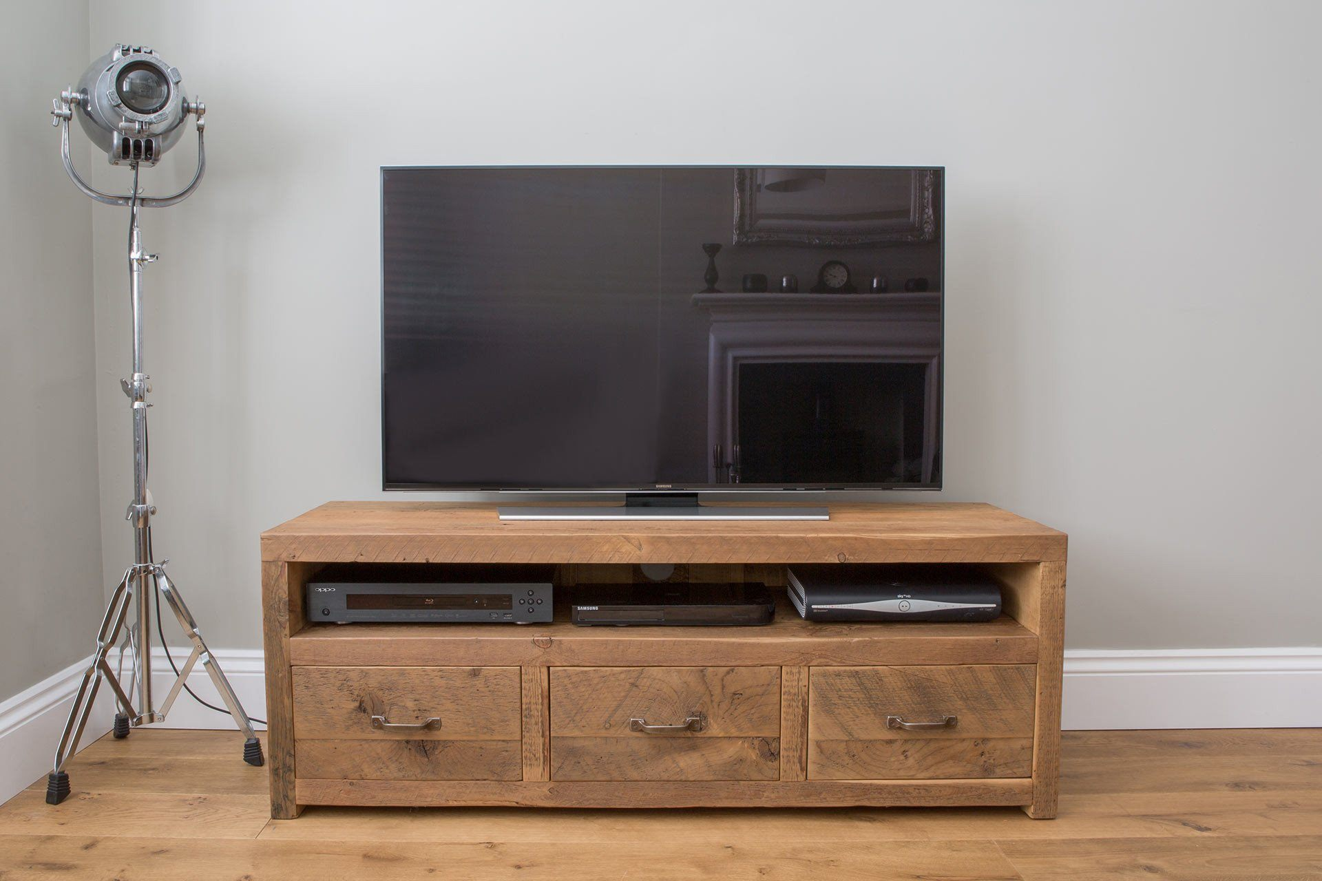 "Warm 136.5cm Double TV Stand With Antique Handles (Displayed With 48"" TV)"