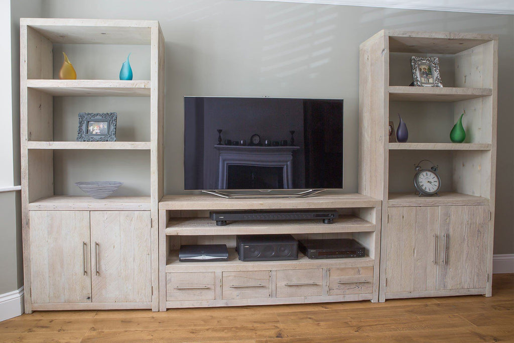 Grey 158.5cm Triple TV Stand With Bar Handles & 90.5cm Entertainment Units (Sold Separately)