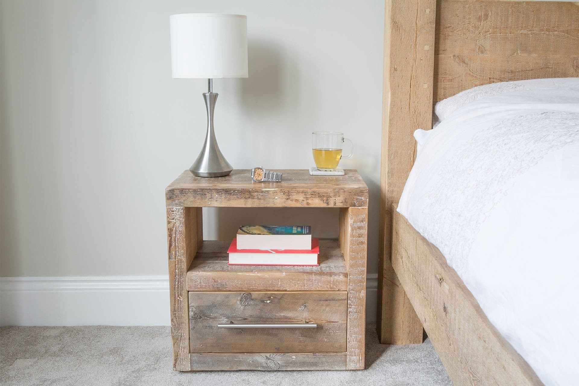 Natural 1 Drawer Bedside Table With Bar Handle