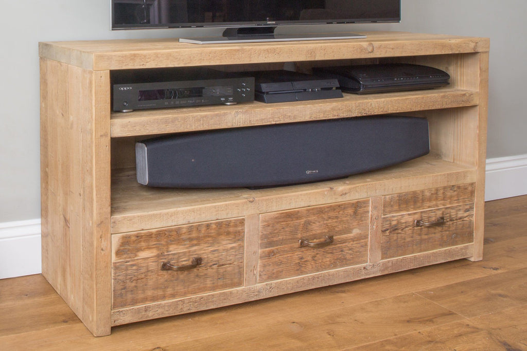 "Natural 136.5cm Triple TV Stand With Antique Handles (Displayed With 48"" TV)"
