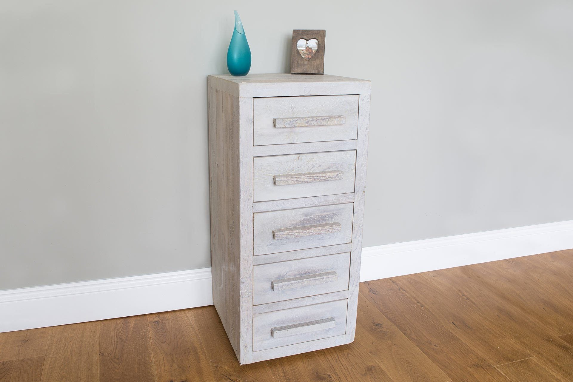 Grey 47.5cm Chest With 5 Drawers & Long Wooden Handles