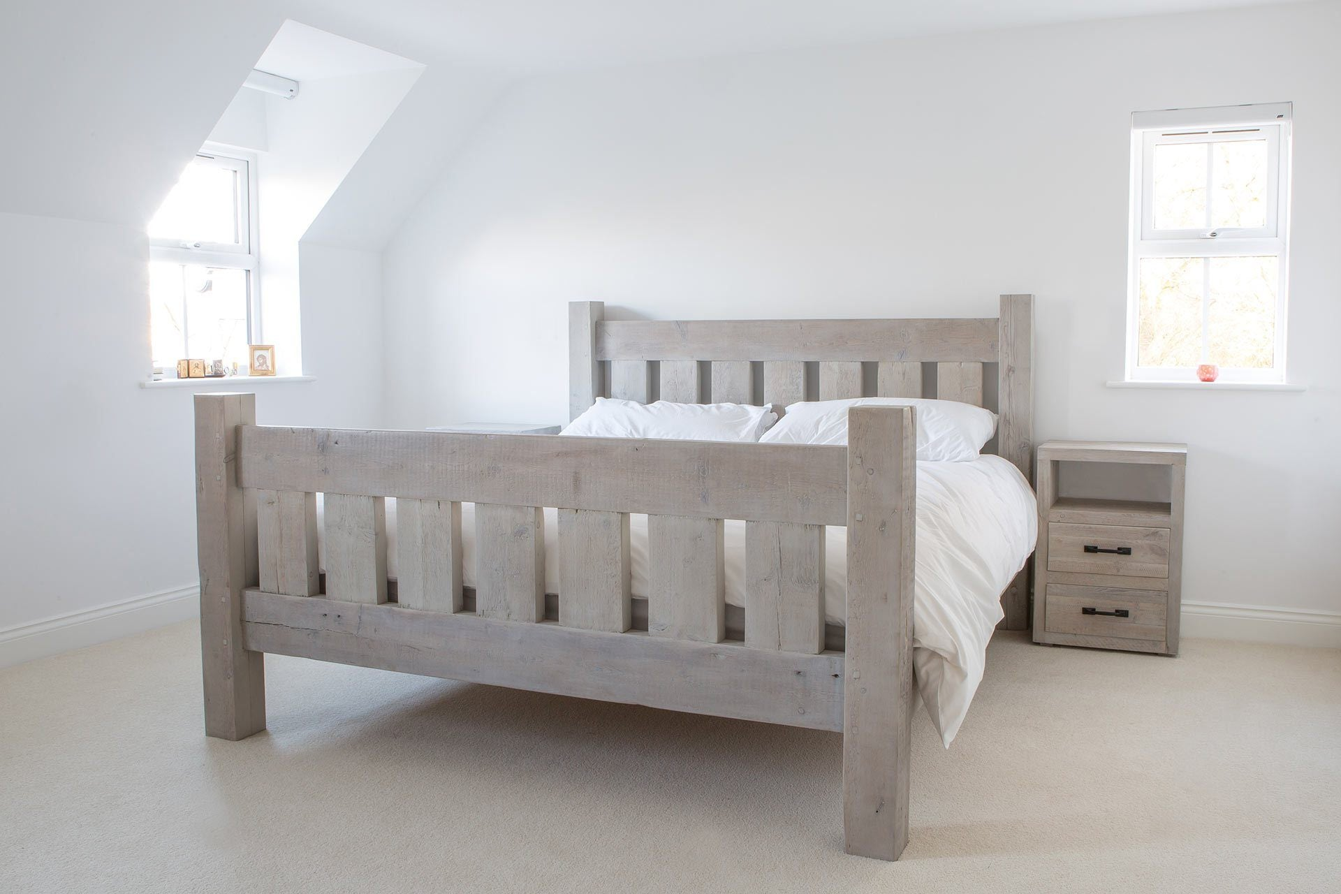 Reclaimed Rustic Wood Darcy Bed With Footboard Eat Sleep Live